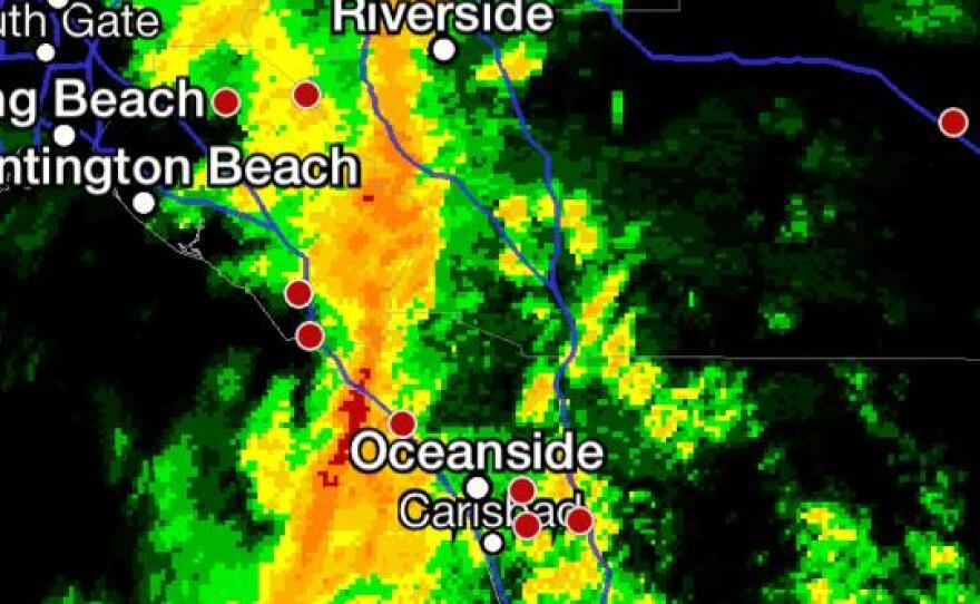 A band of heavy rain stretches across San Diego from San Bernardino to Chula Vista, Feb. 28, 2014.