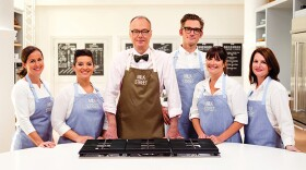 (L-R): The cast of CHRISTOPHER KIMBALL'S MILK STREET TELEVISION - Erika Bruce, Rayna Jhaveri, Christopher Kimball, Matthew Card, Catherin Smart, and Lynn Clark. The world of home cooking is undergoing a revolution with new tastes, flavors, techniques and influences. This series wants to change how Americans cook by bringing home a fresher, bolder, simpler way of preparing food.