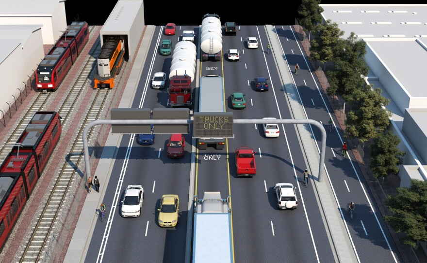 Harbor Drive leaving National City heading north to 32nd St and the shipyards in this undated rendering.