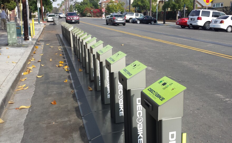 A DecoBike bike sharing station at 28th and B streets in Golden Hill on Thursday, Dec. 11, 2014.