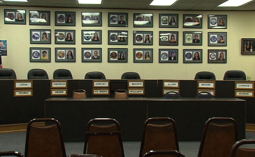 An empty Sweetwater School Board of Trustees chambers.