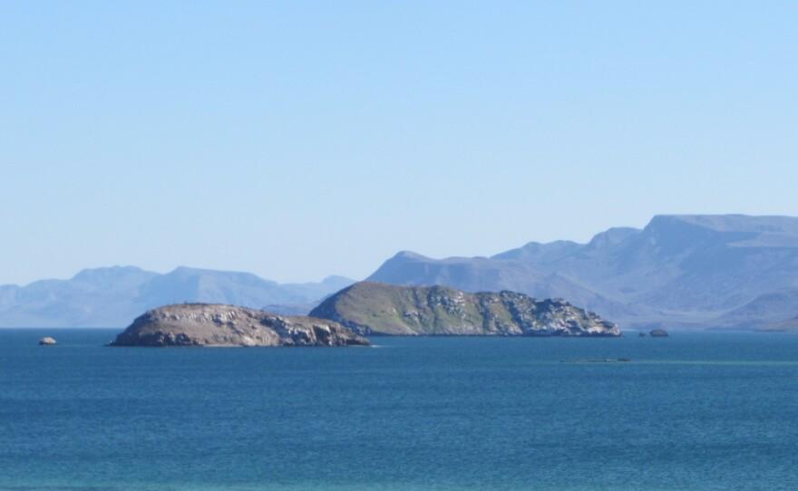 The Sea of Cortez on the eastern side of the Baja California peninsula.
