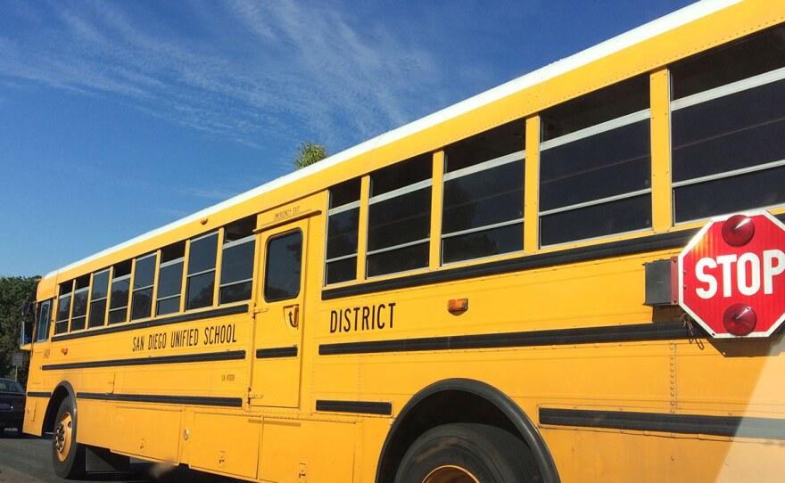 A parked school bus in San Diego, Nov. 1, 2018.