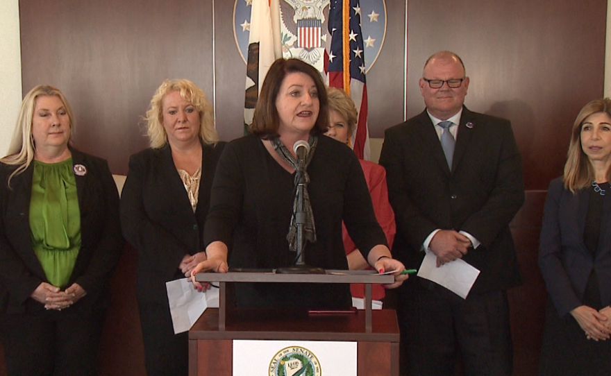 State Senator Toni Atkins (D-San Diego) introduces three new measures focused on targeting human traffickers and protecting victims, San Diego, Calif., March 31, 2017.