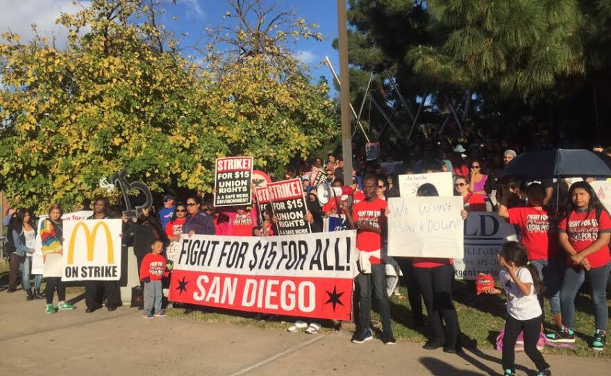 Protesters gathered in downtown San Diego to demand a higher minimum wage, Nov. 10, 2015.