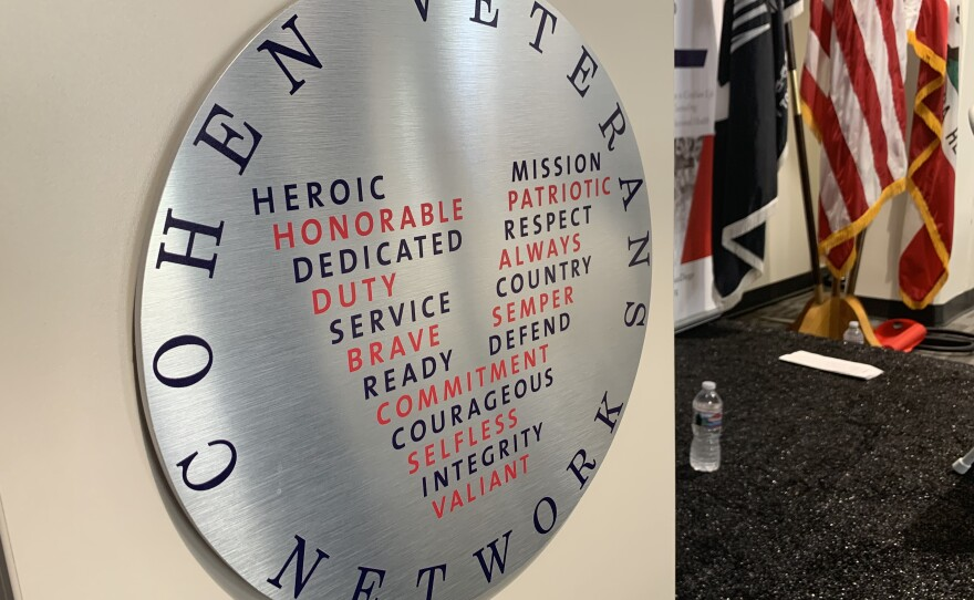 The Cohen Veterans Network logo appears on a podium at the Steven A. Cohen Military Family Clinic at Veterans Village of San Diego, Sept. 5, 2019.