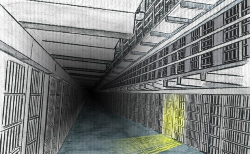 """The hand drawn and painted backgrounds for """"Death Row Diet"""""""