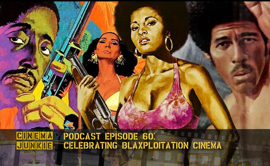"""A collage of Blaxploitation artwork that includes """"Cotton Comes to Harlem,"""" Coffy,"""" and """"Three the Hard Way."""""""