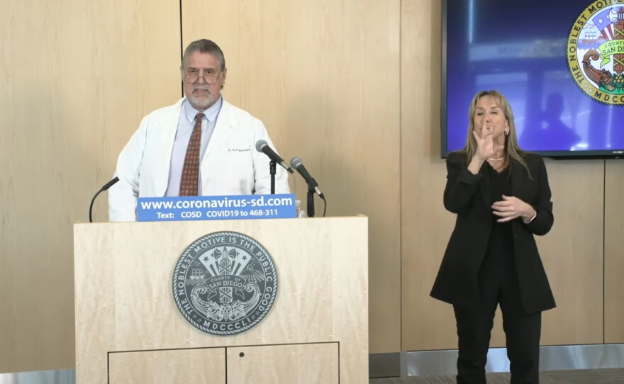 In this file image from March 30, 2020, Dr. Nick Yphantides gives an update on San Diego County's coronavirus case rates.