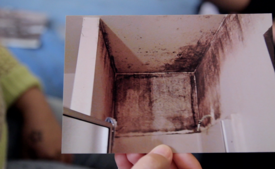 Karina Villanueva shows KPBS and Voice of San Diego a photo of mold above her shower on Nov. 20, 2014.