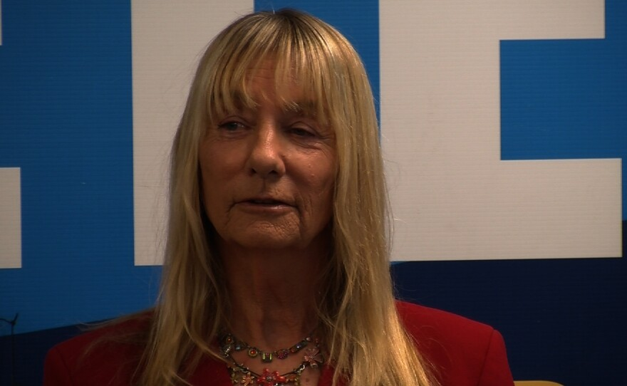Former City Councilwoman Donna Frye says she supports Congressman Scott Peters in his bid for re-election against former City Councilman Carl DeMaio in the 52nd Congressional District, Oct. 29, 2014.