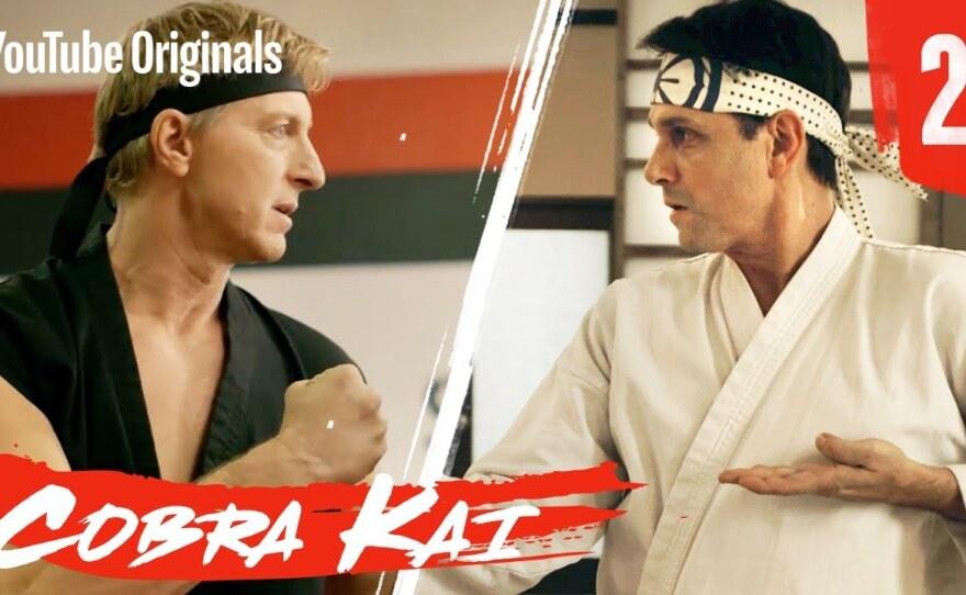 "Johnny Lawrence (William Zabka) and Daniel Larusso (Ralph Macchio) of ""Karate Kid"" fame face off yet again in ""Cobra Kai,"" Season Two  on YouTube."