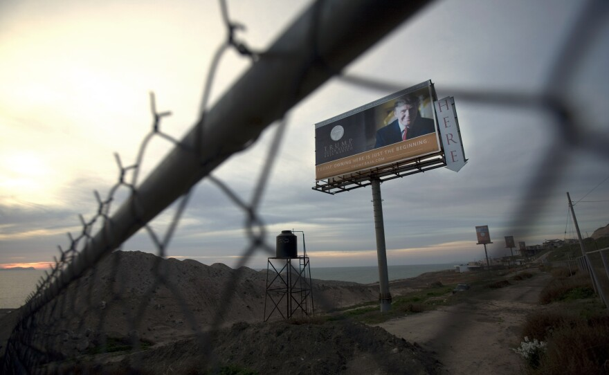 A Trump Ocean Resort Baja highway billboard with a large photo of Donald Trump that advertises condos for sale remains on the project lot on the outskirts of Tijuana, Mexico, Feb. 27, 2009.