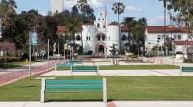 San Diego State University's campus is shown on March 27, 2020.