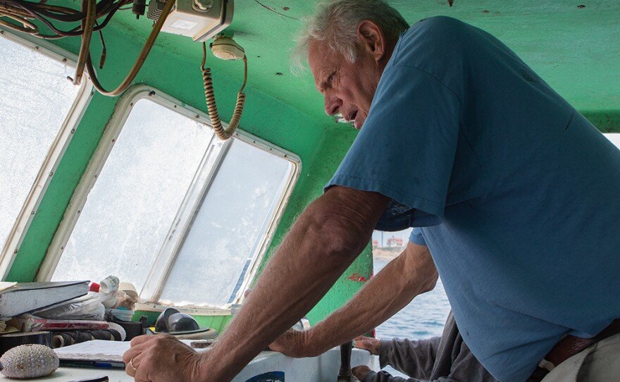 Commercial fisherman Peter Halmay aboard the Erin B., on July 27, 2016.