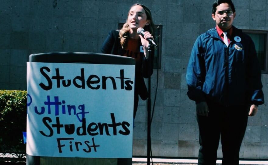 Cadence Gossler speaks at the student walkout at Otay Ranch High School on Mar. 3, 2020