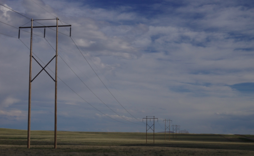 Power transmission lines march across the Shirley Basin in central Wyoming in this undated photo.