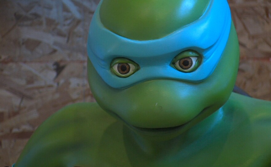 The fifth and oft forgotten Teenage Mutant Ninja Turtle, Venus. She is on display at the San Diego Comic Art Gallery.