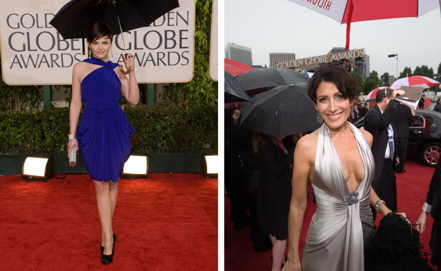 On the red carpet were umbrellas, strapless and single strapped dresses, and plunging necklines. Oh my!