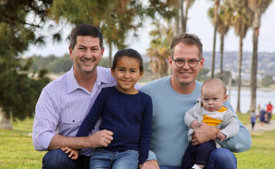 An undated photo of Chris Ward (left), candidate for the 78th State Assembly District, and his family.