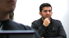 Alfredo Brambila, 22, in class at Centro de Enseñanza Técnica y Superior, a private university in Tijuana Feb. 7, 2013. Brambila thought he would get an American college degree until overenrolled community college classes made it difficult to complete a transfer degree.