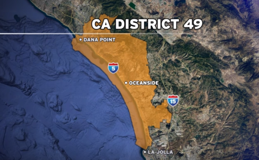 A map shows the boundaries of the 49th Congressional District, which includes coastal communities in Orange and San Diego counties, January 2018.