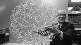 A portrait of architect, inventor, and designer R. Buckminster Fuller.