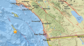 A map shows the epicenter of an earthquake that hit Southern California, May 1, 2018.