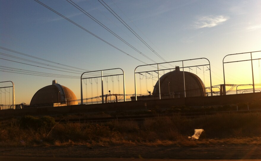 This undated photo shows the San Onofre Nuclear Generating Station at dusk.
