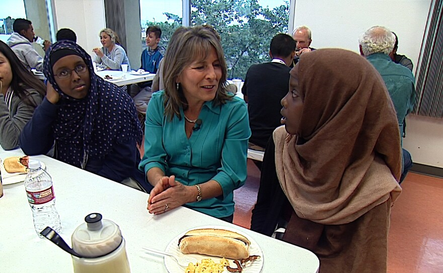 San Diego City Councilwoman Lorie Zapf talks with students at a Reality Changers meeting in City Heights on March 18, 2015.