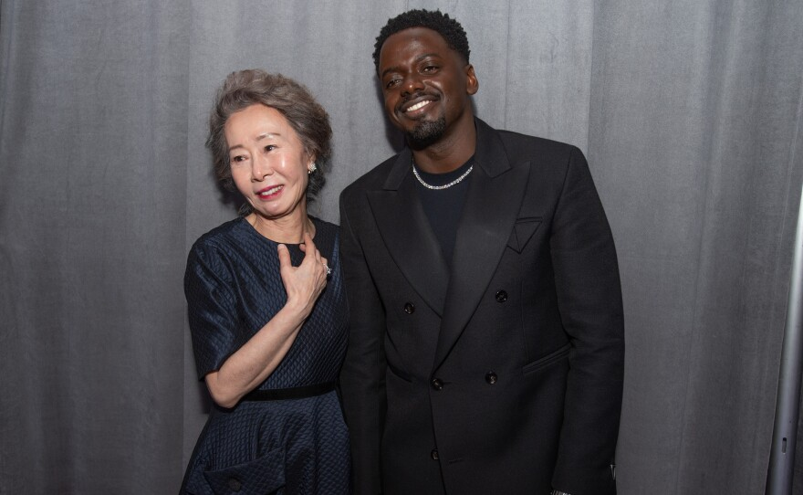 Oscar® Winners Yuh-Jung Youn and Daniel Kaluuya backstage during the live ABC Telecast of The 93rd Oscars® at Union Station in Los Angeles, CA on Sunday, April 25, 2021.