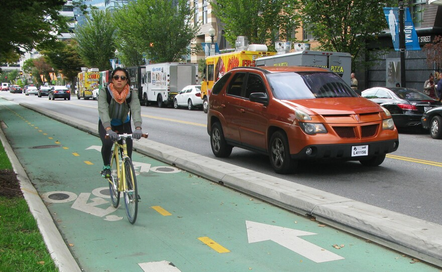 Unlike a conventional bike lane, protected bike lanes physically separate cyclists from cars.