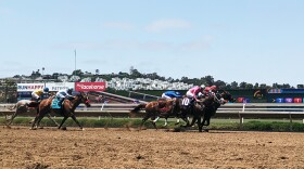 Horses on the second race of the day on Open Day at the Del Mar Racetrack, July 16, 2021.
