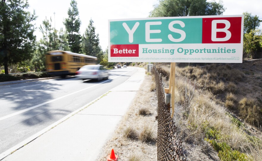 """A sign urging a """"Yes"""" vote on Measure B, Oct. 4, 2016."""