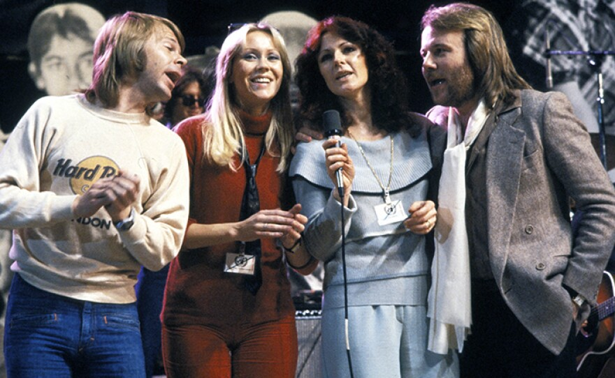 Left to right: ABBA members Björn Ulvaeus, Agnetha Fältskog, Anni-Frid Lyngstad and Benny Andersson (undated photo)