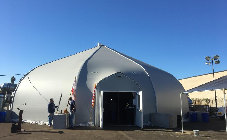 An outside view of the homeless tent shelter on Sports Arena Boulevard, Dec. 22, 2017.
