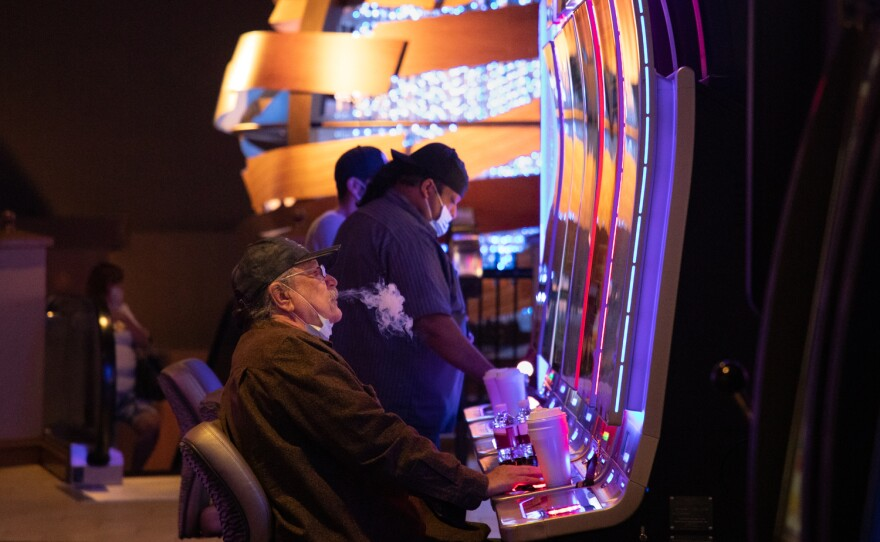 While smoking, eating, or drinking visitors are not required to wear masks at the Sycuan casino in East County, Aug. 14, 2020.