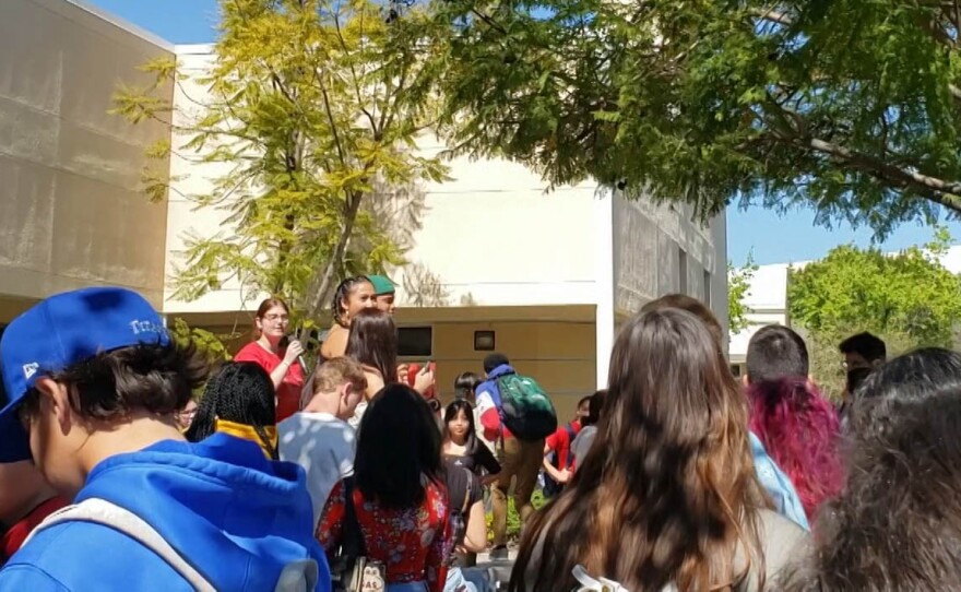 Students staged a walkout Tuesday, March 3, 2020, at East Lake High School to protest Sweetwater Union High School District's plan to layoff more than 200 employees to offset a projected $30 million budget deficit.