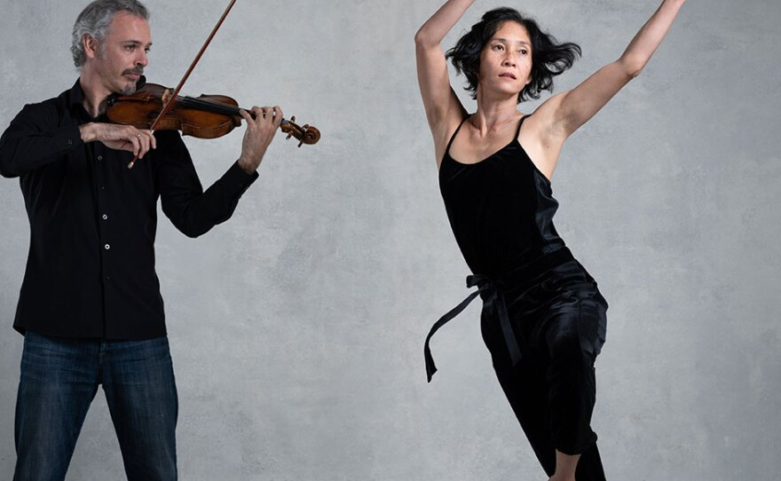 """Colin Jacobsen and Maile Okamura perform as part of LITVAKdance's """"Dances to Strings"""" production, streaming on April 10, 2021."""