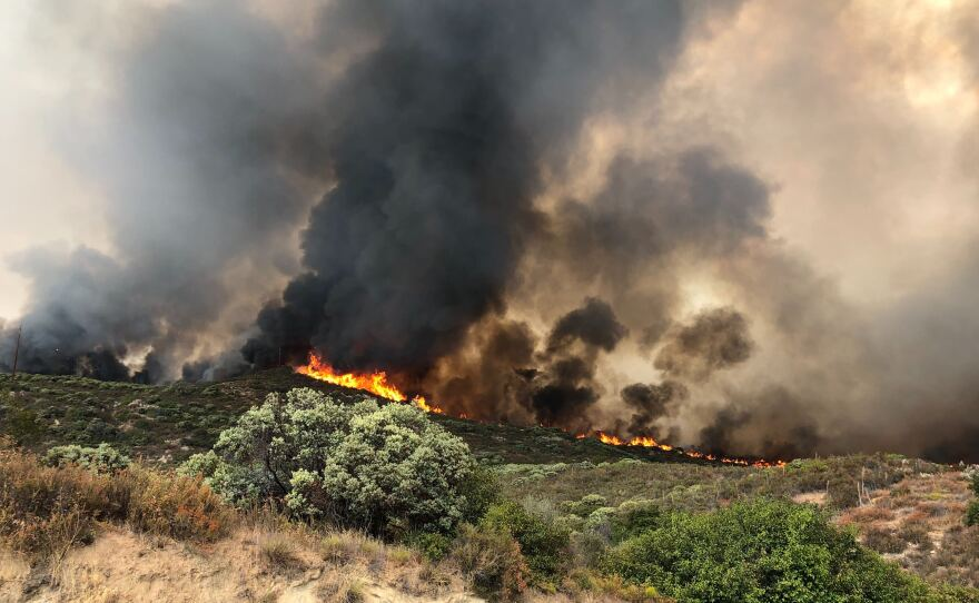 Flames from the Valley Fire which is located at Japatul Road and Carveacre Road, southeast of Alpine in San Diego County. Sept. 6, 2020.