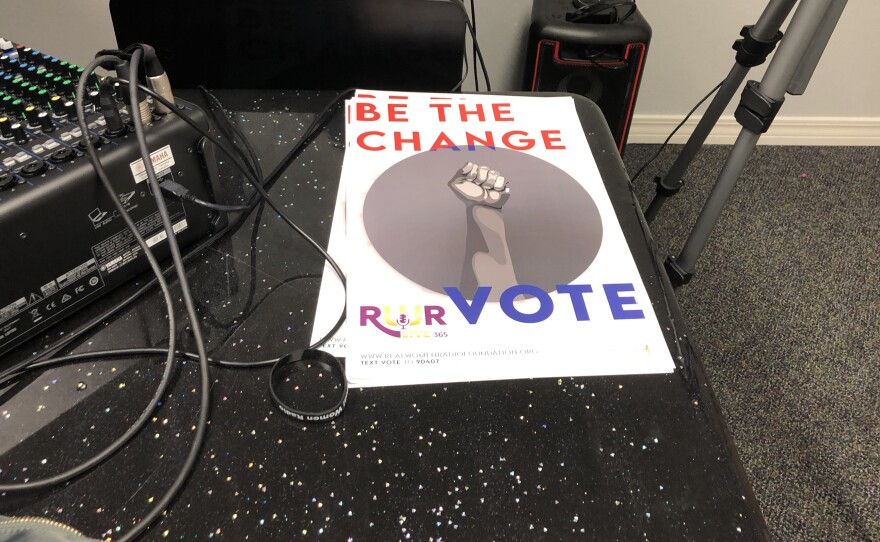 One of the get out the vote posters used by Real Women Radio, an internet radio station created by and for African-American women in Pensacola.