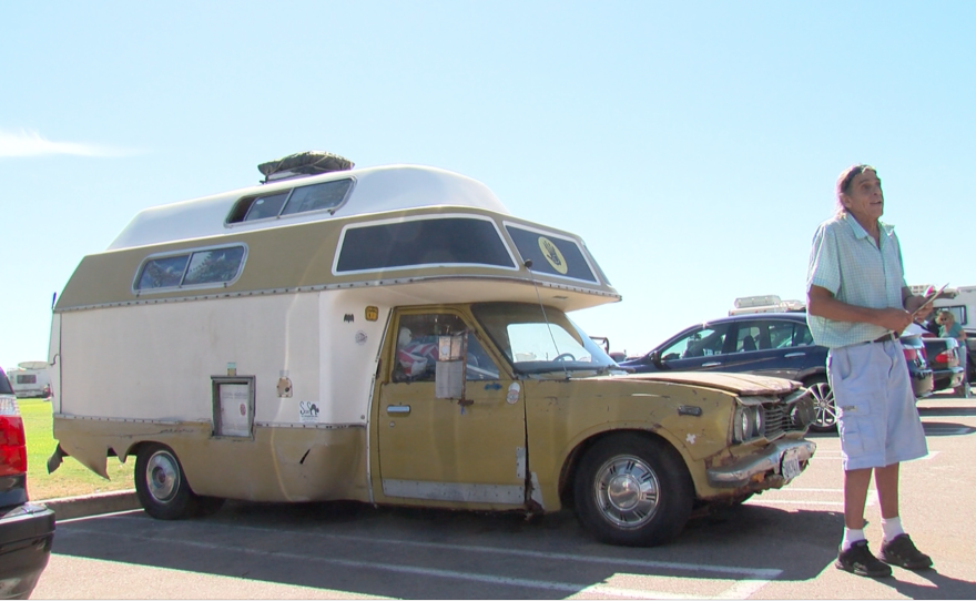 Bloom's RV, which he said is over 30 years old and has constant mechanical issues at Dog Beach in Ocean Beach, Sept. 25, 2017.