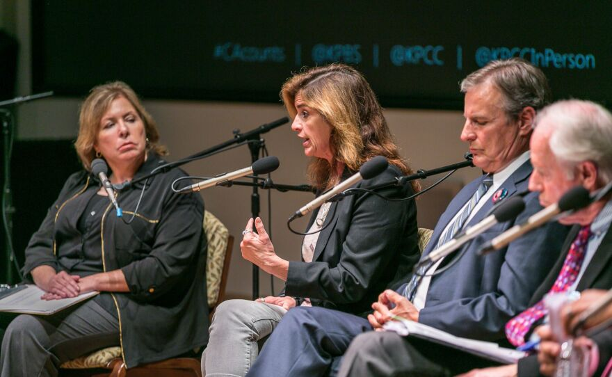 Second from the left is Beth Webb, whose sister Laura died during a 2011 shooting in Seal Beach, speaking at a death penalty town hall at the University of San Diego, Sept. 8, 2016. Next to her is Marc Klass, whose daughter Polly was kidnapped and killed in 1993.