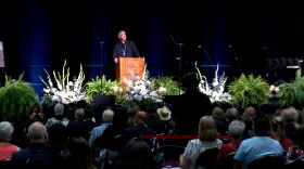 Auxiliary Bishop of the Roman Catholic Diocese of San Diego, the Most Rev. John Dolan, speaks at a memorial for Fr. Joe Carroll at the San Diego Convention Center on August 10, 2021.