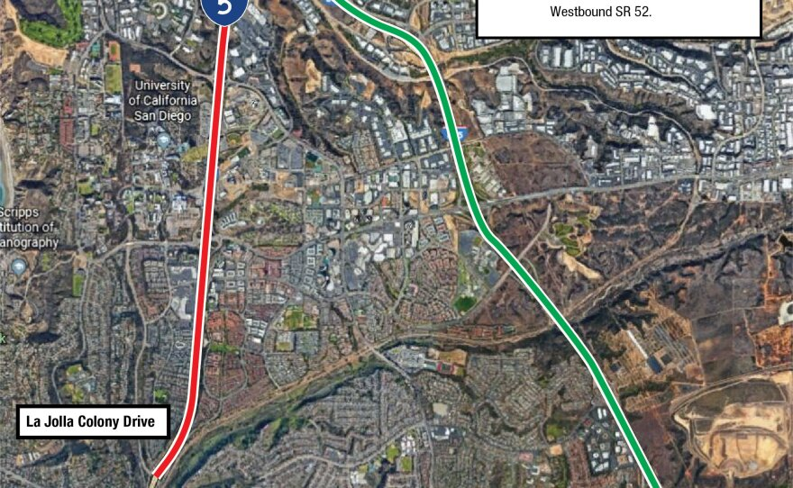 All lanes from southbound Interstate 5 will be closed Wednesday and Thursday nights in the University City as crews work on the Mid-Coast Trolley line expansion.