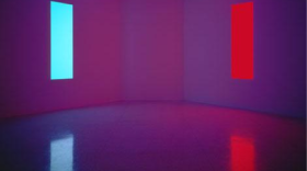James Turrell, Stuck Red and Stuck Blue, 1970, construction materials and fluorescent lights, overall dimensions: 33 x 40 x 33 in., Collection Museum of Contemporary Art San Diego, Museum Purchase, Elizabeth W. Russell Foundation Funds.
