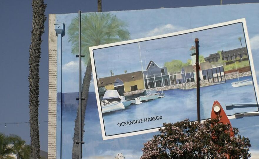 A mural of the Oceanside Harbor in downtown Oceanside, March 28, 2017.