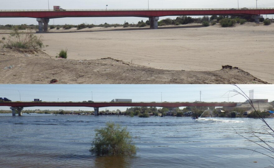 Above: Days before the 2014 pulse flow, the Colorado River at the U.S.-Mexico border (top) was dry and sandy. Nine days later, the gates at the Morelos Dam opened, and water again flowed into the channel (bottom), March 20, 2014.