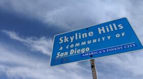 A sign shows the San Diego neighborhood of Skyline, Jan. 29, 2019.