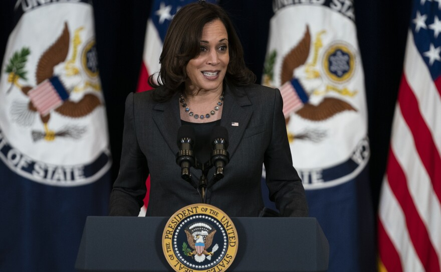 Vice President Kamala Harris delivers remarks to State Department staff, Thursday, Feb. 4, 2021, in Washington.
